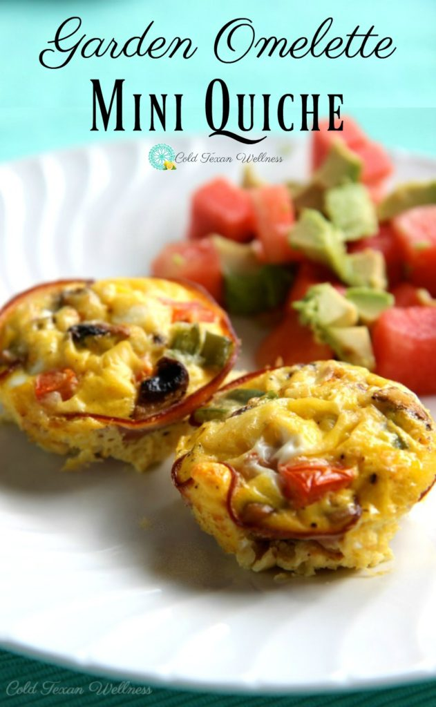 Garden Omelette mini quiche egg muffins are the perfect gluten-free healthy breakfast! With a whole serving of veggies and protein you have a big energy boost to keep you going all morning! #21dayfixapproved #paleorecipe #paleobreakfast #healthyeating #healthybreakfast #makeaheadmeals #mealprepbreakfast