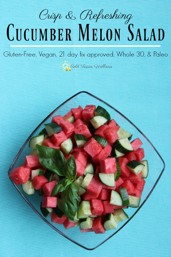 Cucumber Melon Salad Recipe. A healthy summer recipe that goes great with dinner, lunch, brunch, picnics, and every occasion under the sun. It's light and refreshing and approved for most diets including Gluten-free, vegan, paleo, whole 30 and 21 day fix! #21dayfixapproved #picnicrecipe #summerrecipe #cleaneating #vegan