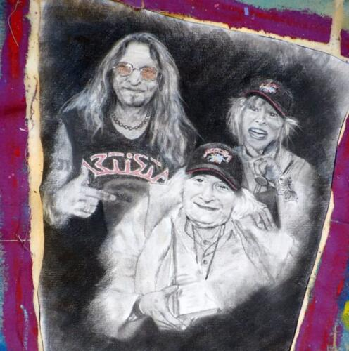 Charcoal Drawing of Crowbar, Barbara, and Joe Buck