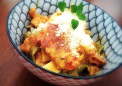 Tomato and Salami Fettuccini