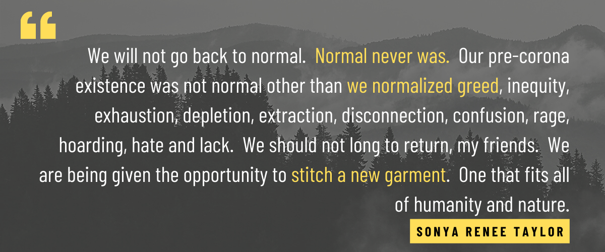 We will not go back to normal. Normal never was. Our pre-corona existence was not normal other than we normalized greed, inequity, exhaustion, depletion, extraction, disconnection, confusion, rage, hoarding, hate and lack. We should not long to return, my friends. We are being given the opportunity to stitch a new garment. One that fits all of humanity and nature.