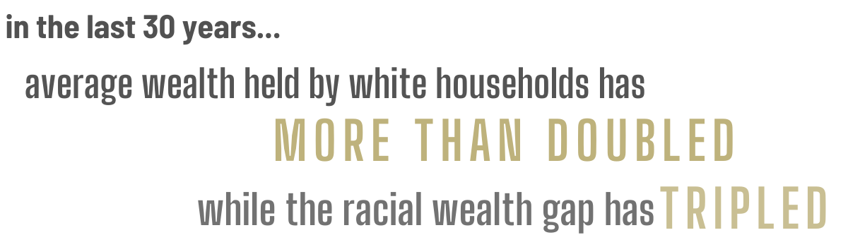 In the last 30 years average wealth held by white households has more than doubled while the racial gap has more tripled.