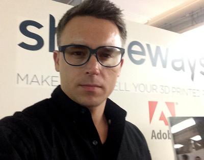 Author in custom 3D printed glasses