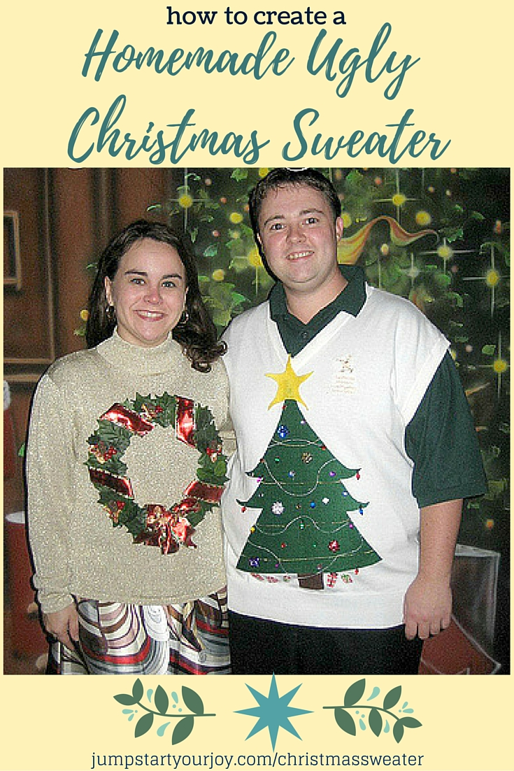How to Create an Ugly Homemade Christmas Sweater on Jump Start Your Joy - a great tutorial on how to make an ugly sweater with step by step instructions. Click to learn how, or Pin to Save for Christmastime!