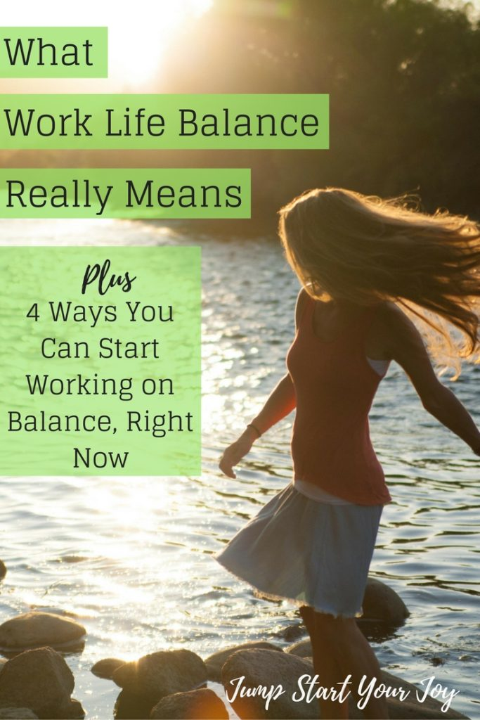 What does work life balance really mean? How can you find balance? This post helps explain what balance is and gives easy ways to find it. Click to read now, and Pin for later. www.jumpstartyourjoy.com