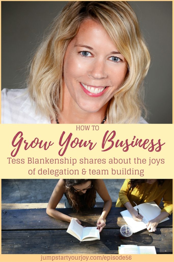 Are you looking for ways to grow your business and considering hiring a virtual team or virtual assistant? Tess Blankenship has great advice for you in this interview. click to listen and pin for later. www.jumpstartyourjoy.com