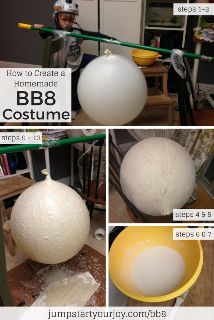 Learn how to create a homemade BB8 Halloween costume for your child using paper mache. Click to get all the instructions or Pin for later. www.jumpstartyourjoy.com