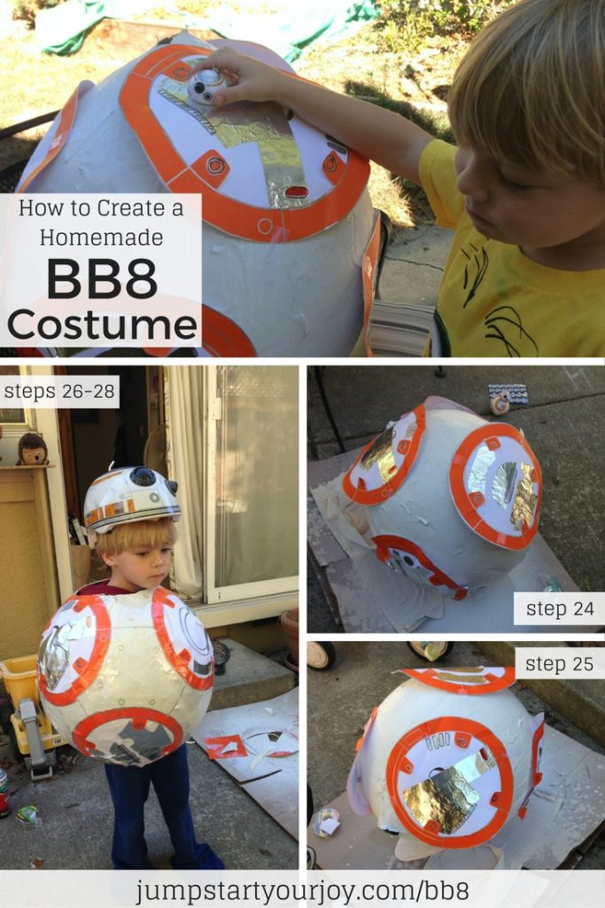 Learn all the steps to creating an adorable BB8 costume for your child out of paper mache. Click to get all the steps, or pin for later. www.jumpstartyourjoy.com