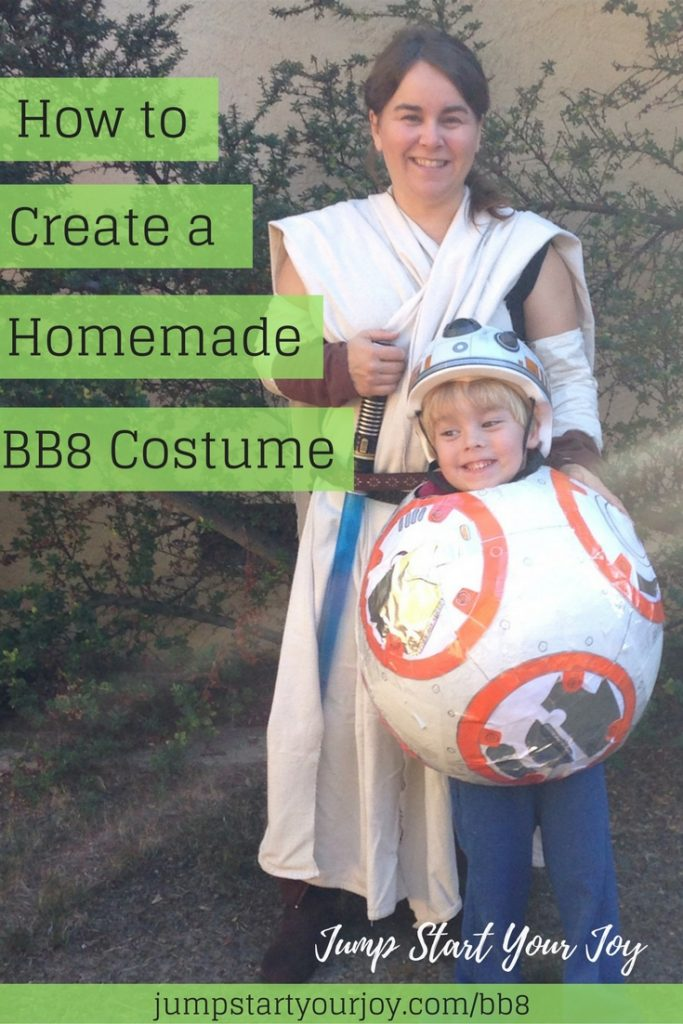 This mom created a homemade BB8 Halloween costume for her son out of paper mache. Click to get all the instructions, or pin for later. www.jumpstartyourjoy.com