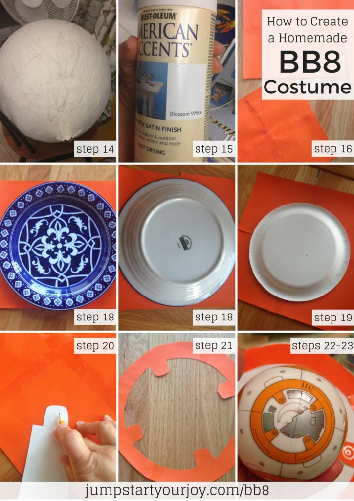 Create a homemade BB8 costume for Halloween for your child out of paper mache! This post breaks down the steps to making an awesome BB8 costume. Click to read or Pin for later. www.jumpstartyourjoy.com