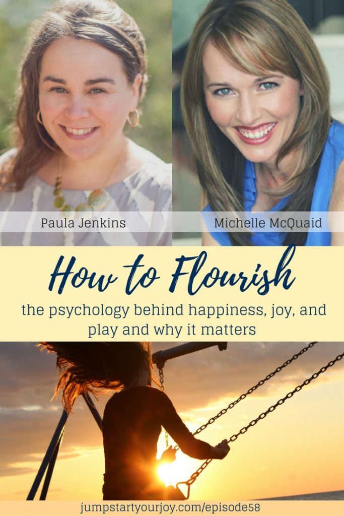 five ways to flourish and get back to loving your career if you're feeling restless. This interview with Michelle McQuaid is about positive psychology and why joy is important for your life. Pin to Save and click to listen. www.jumpstartyourjoy.com