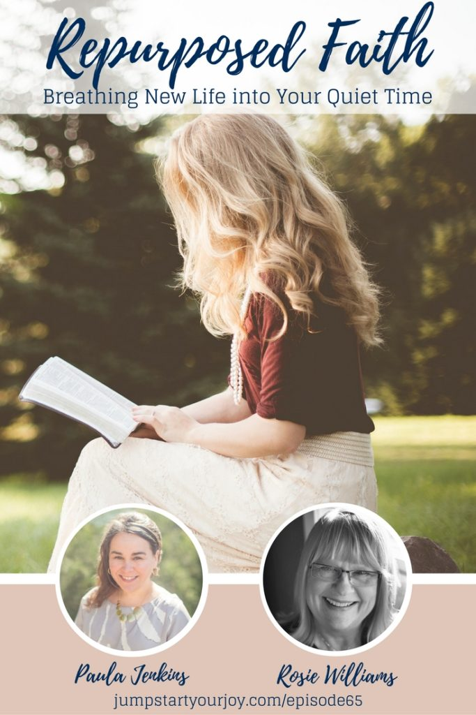 Find new ways to breathe life into your quiet time with this awesome interview with author Rosie Williams. If you feel burnt out or overwhelmed and want to reconnect with God and Jesus, Rosie offers some great ideas. Pin for later or click to listen to this podcast interview. www.jumpstartyourjoy.com