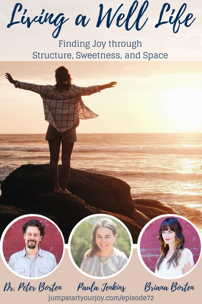 Discover new ways to bring balance, happiness, and peace into your life by using Structure, Sweetness, and Space. Three easy ways to find more joy. A great interview with Briana Borten and Dr. Peter Borten. Save to listen later, click to listen now. www.jumpstartyourjoy.com