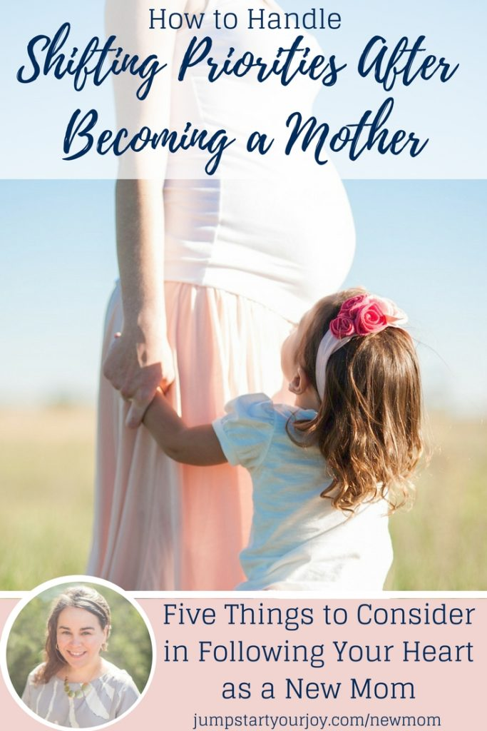 Are you having a hard time juggling shifting priorities as a new mom? There are lots of great ideas on how to juggle career and family in this post and podcast with Kris Nations. Click to listen and save for later. www.jumpstartyourjoy.com