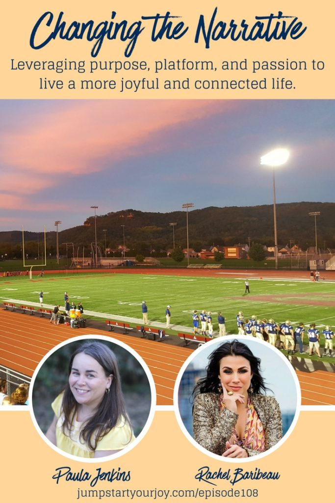 Rachel Baribeau of SiriusXM's College Sports Nation and GridironNow joins podcast host Paula Jenkins to talk about how to change the narrative at college campuses and teach people to leverage their purpose, platform, and passion for creating more joyful and connected communities. Join the conversation at www.jumpstartyourjoy.com/episode108