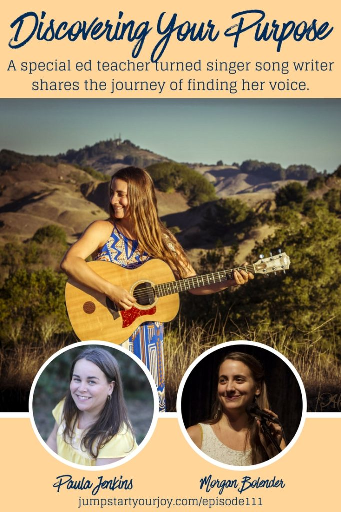 Morgan Bolender joins podcast host Paula Jenkins to share her journey from teacher to singer songwriter, and how she landed the gig to open for Danielle LaPorte at Grace Cathedral in San Francisco. Tune in at www.jumpstartyourjoy.com/episode111