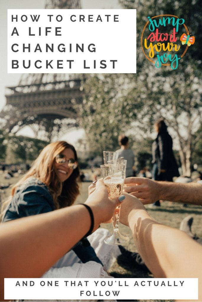 Wish you could create a bucket list that you follow, and that feels like it really fits you? This is a great article that helps you figure out how to make the best bucket list. www.jumpstartyourjoy.com #bucketlist #joy #goodlife