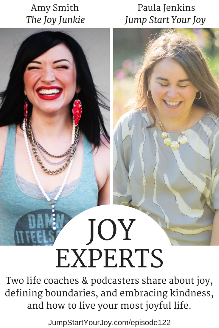 If you have issues setting boundaries, and feel like you avoid having difficult conversations because it will make you look like a jerk, you need to listen to this podcast interview with two joy experts, Amy Smith and Paula Jenkins. They both are life coaches and share how to find more joy in your life. #howtofindjoy #livehappy #podcast