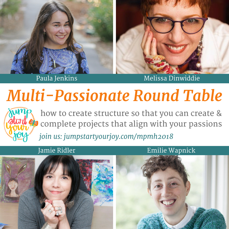 Melissa Dinwiddie, Jamie Ridler, and Emilie Wapnick in a Multi-passionate Round Table