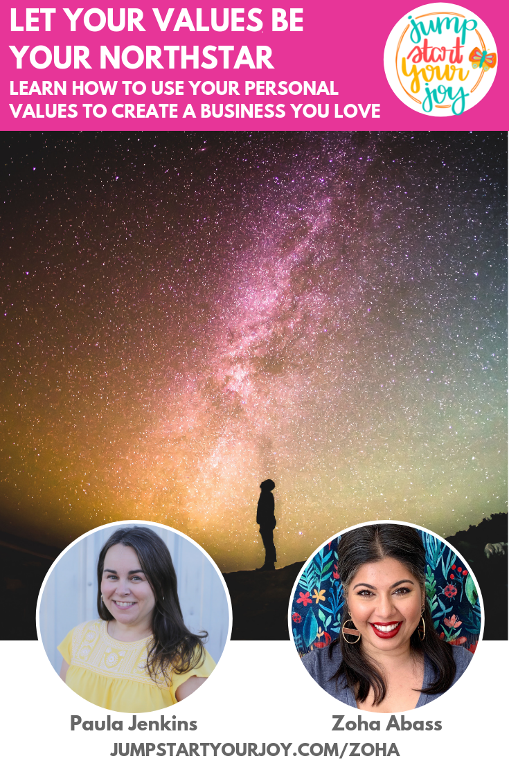Curious about how your values can help you create the business of your dreams? You won't want to miss this episode with multipassionate entrepreneur Zoha Abbas and host Paula Jenkins! #podcast #joy #entrepreneur