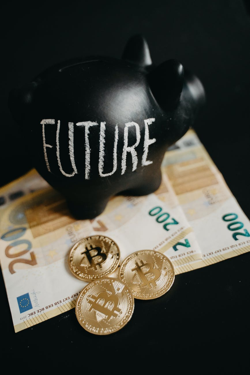 close up photo of black piggy bank on money