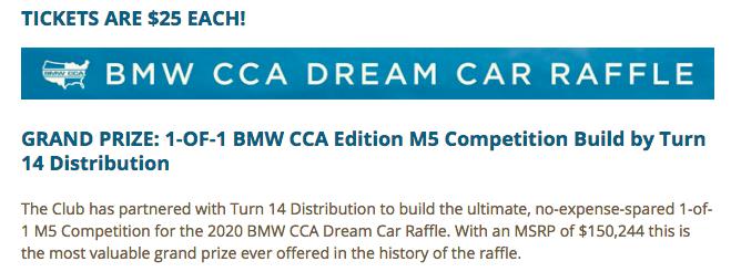 BMW CCA Dream Car Raffle