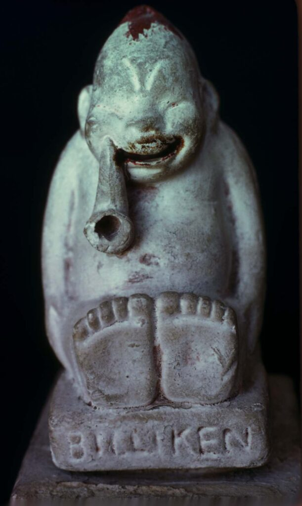 Incense burner of clay. Four inches high and made in 1908.