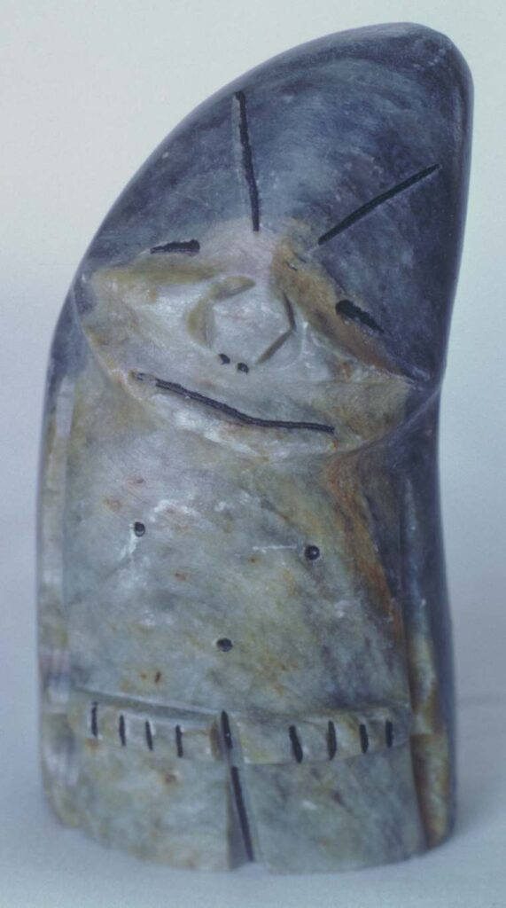 Figurine, soapstone, three inches high. Made by Ben Saclamana, probably in Anchorage