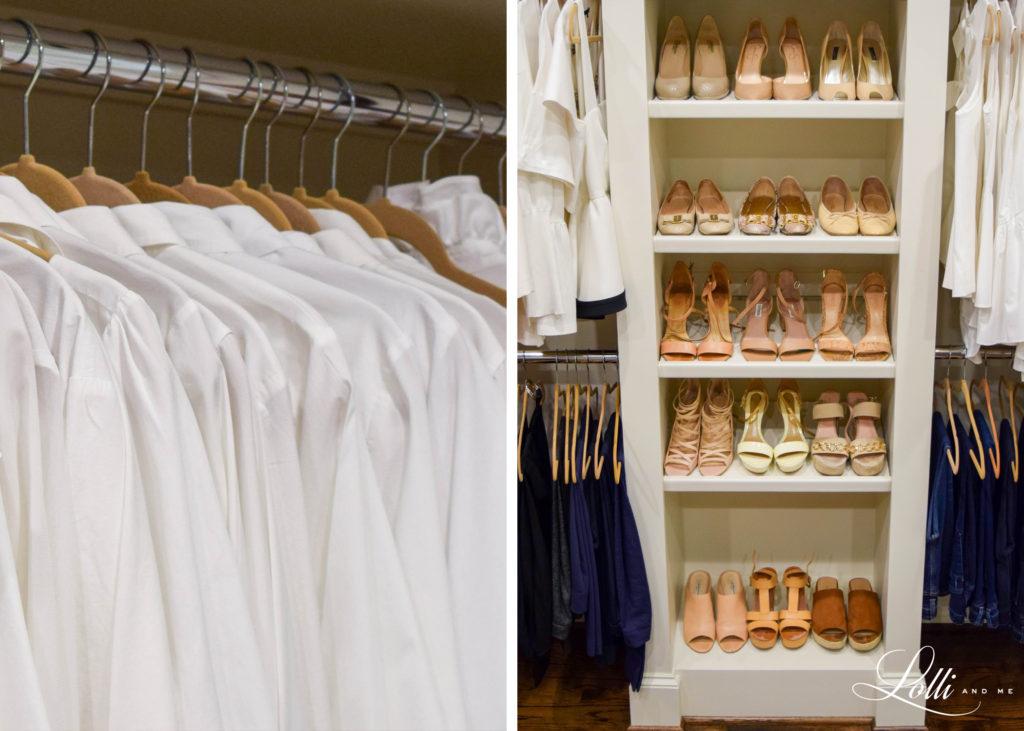 white blouses, neutral shoes, nude pumps, closet organizer