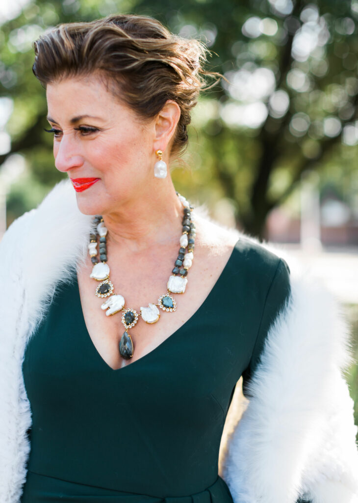 Bounkit statement necklace with Oscar De la Renta drop pearl earring