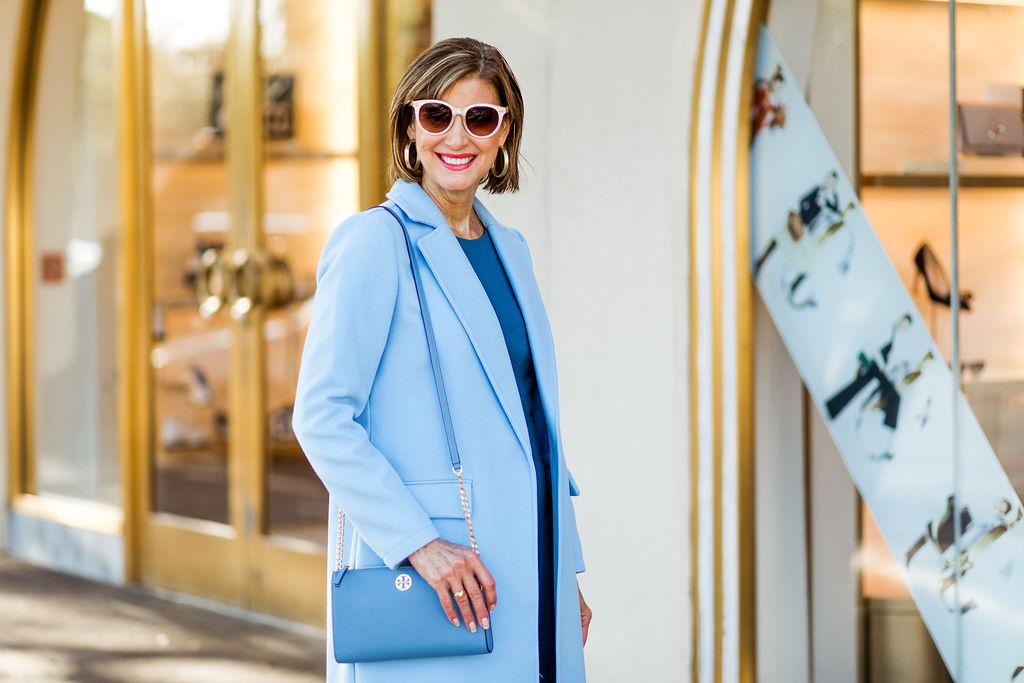 Tonal dressing on Fashionomics founder and Dallas blogger