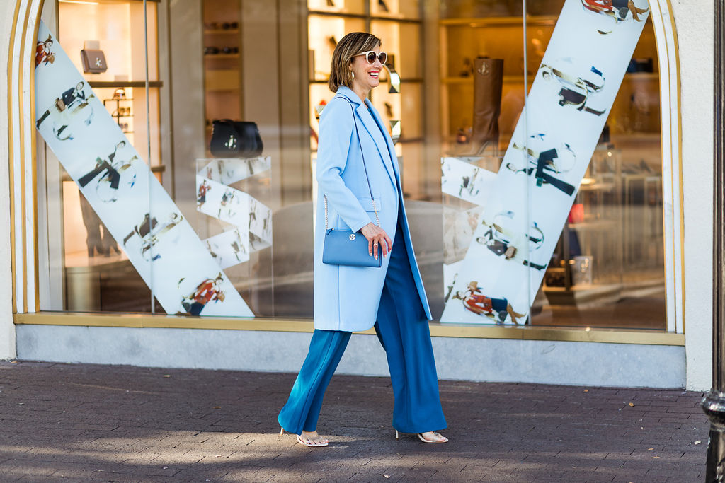 Blue Coats and Jumpsuits on Dallas blogger