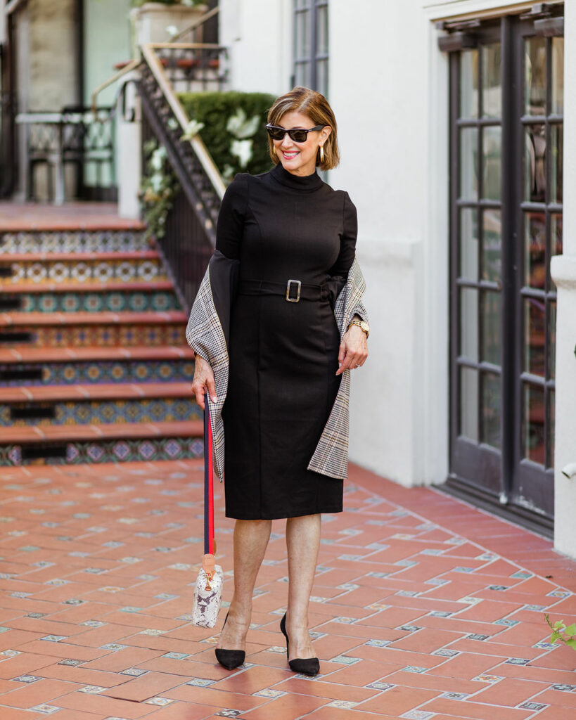 LBD with plaid jacket on Dallas Blogger Debby Allbright