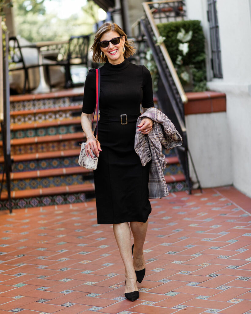The Little Black Dress with plaid jacket from Nordstrom