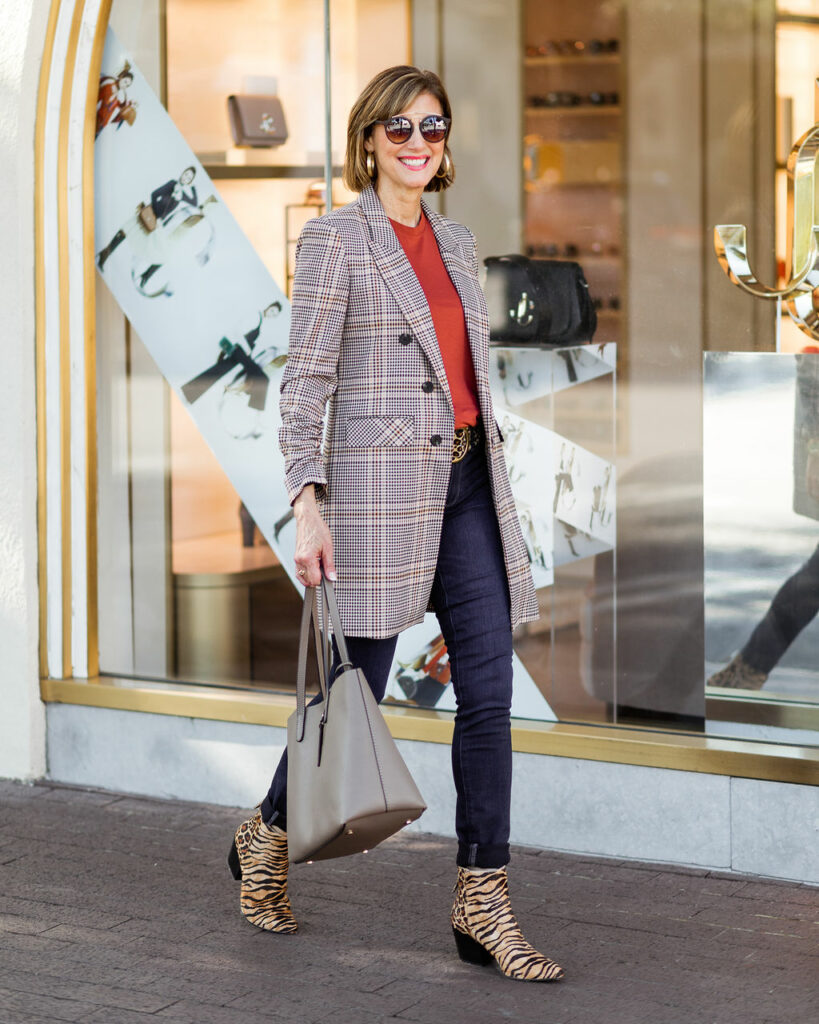 plaid 3/4 length jacket with taupe tote