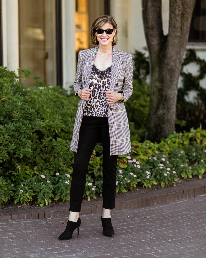 Plaid jacket with leaopard tank for Fashionomics
