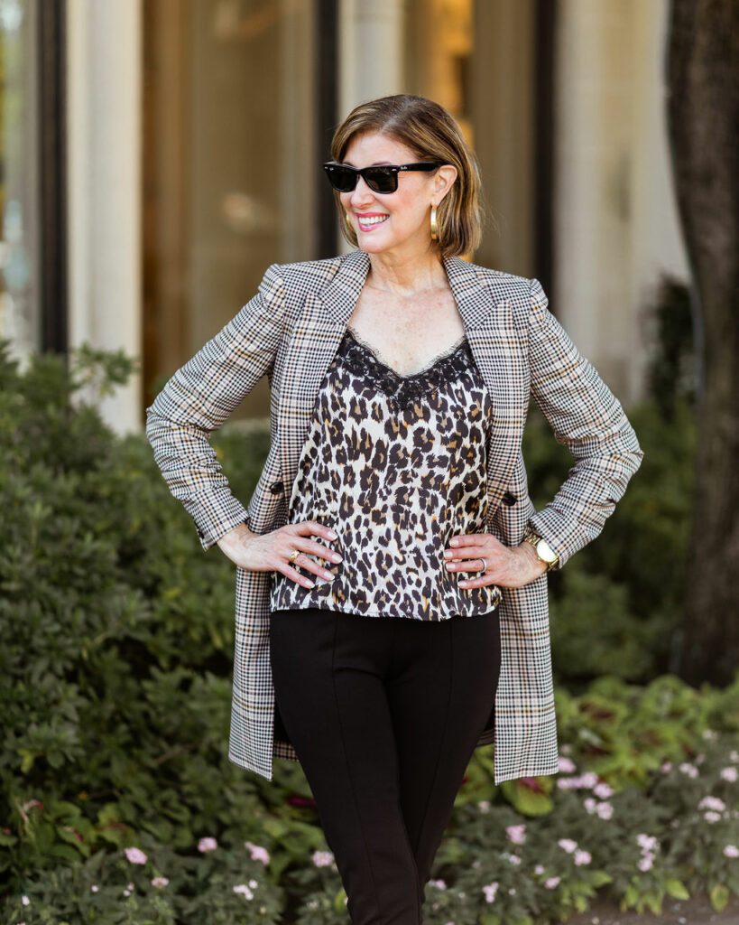 over 50 blogger in leopard camisole
