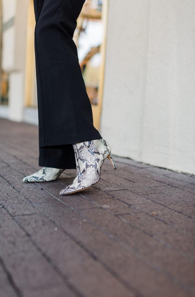 Schutz Bette bootie in snakeskin on Debby Fashionomics