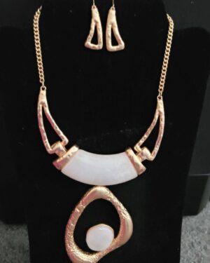 Matte Gold/White, Cellulose Acetate Necklace