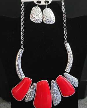 Antique Silver/Red Necklace