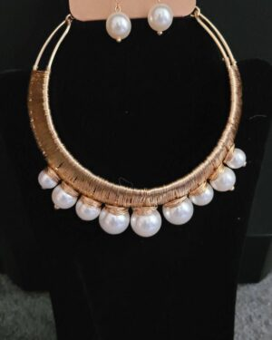 Gold, Pearl Choker Necklace