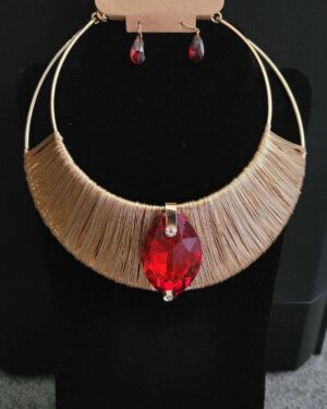 Gold/Red, Marquise Stone with Coil Choker Necklace