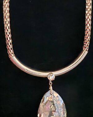 Gold/Topaz Big Crystal Short Necklace