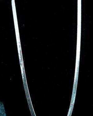 Men's Herringbone Chain Necklace, 24″, Rhodium Plated