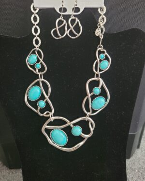 Turquoise Wavy Multi Gemstone Necklace