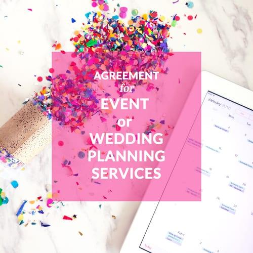 wedding planning contract