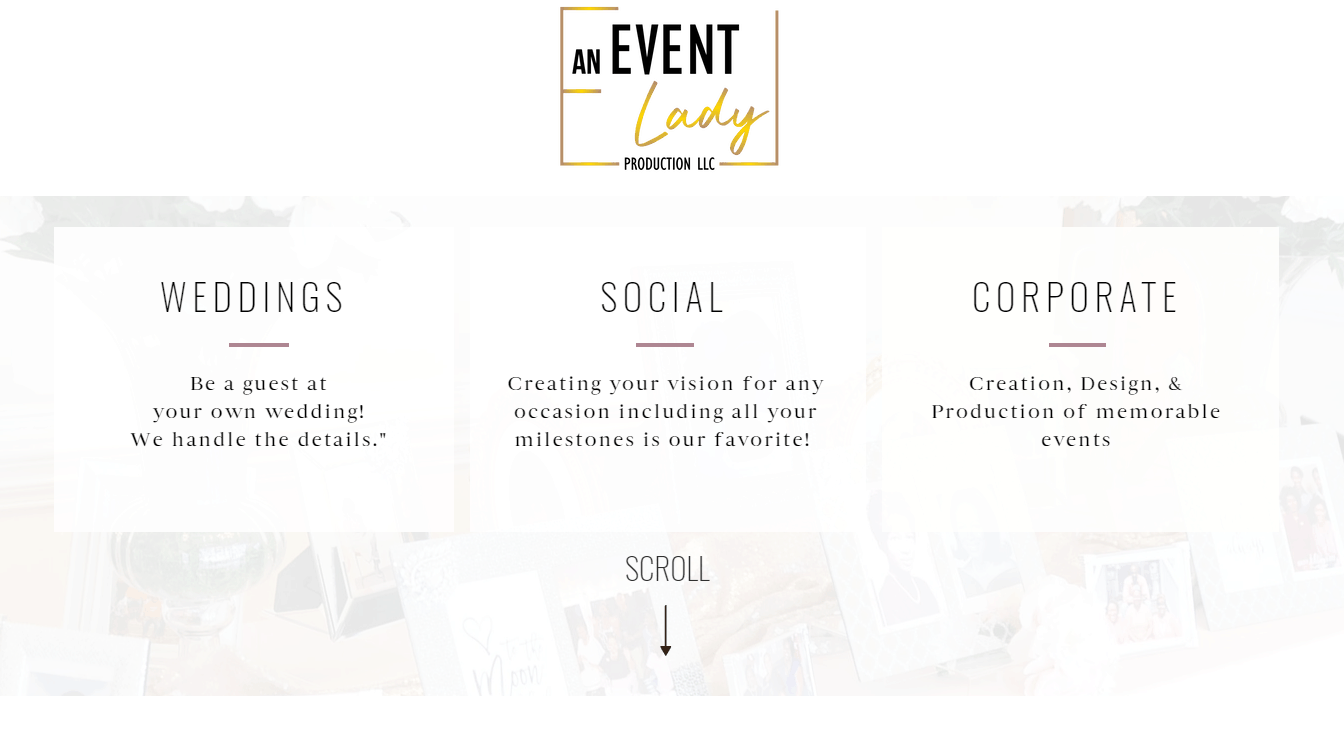Services Page - An Event Lady Production Website Review