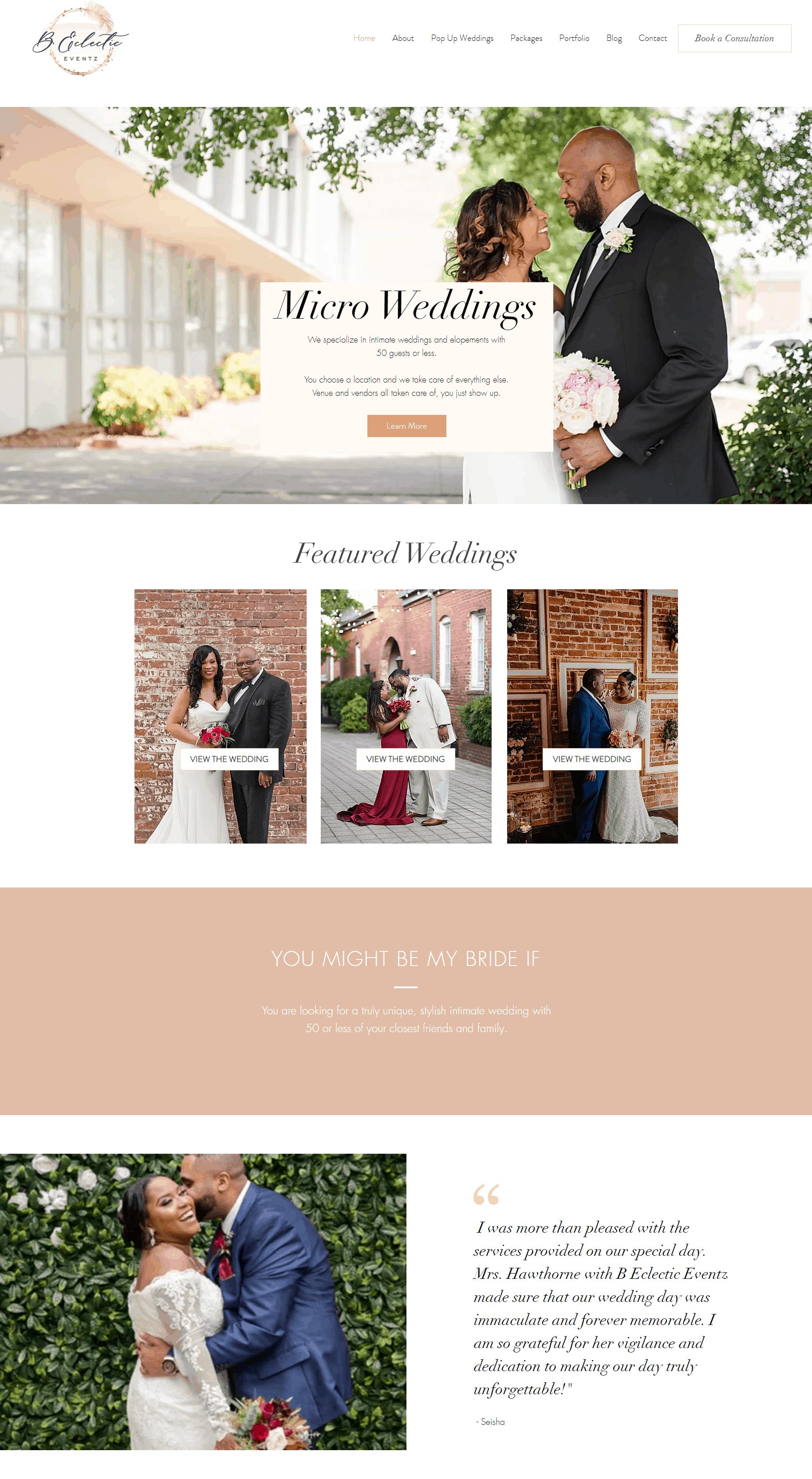 B eclectic eventz  website design AFTER