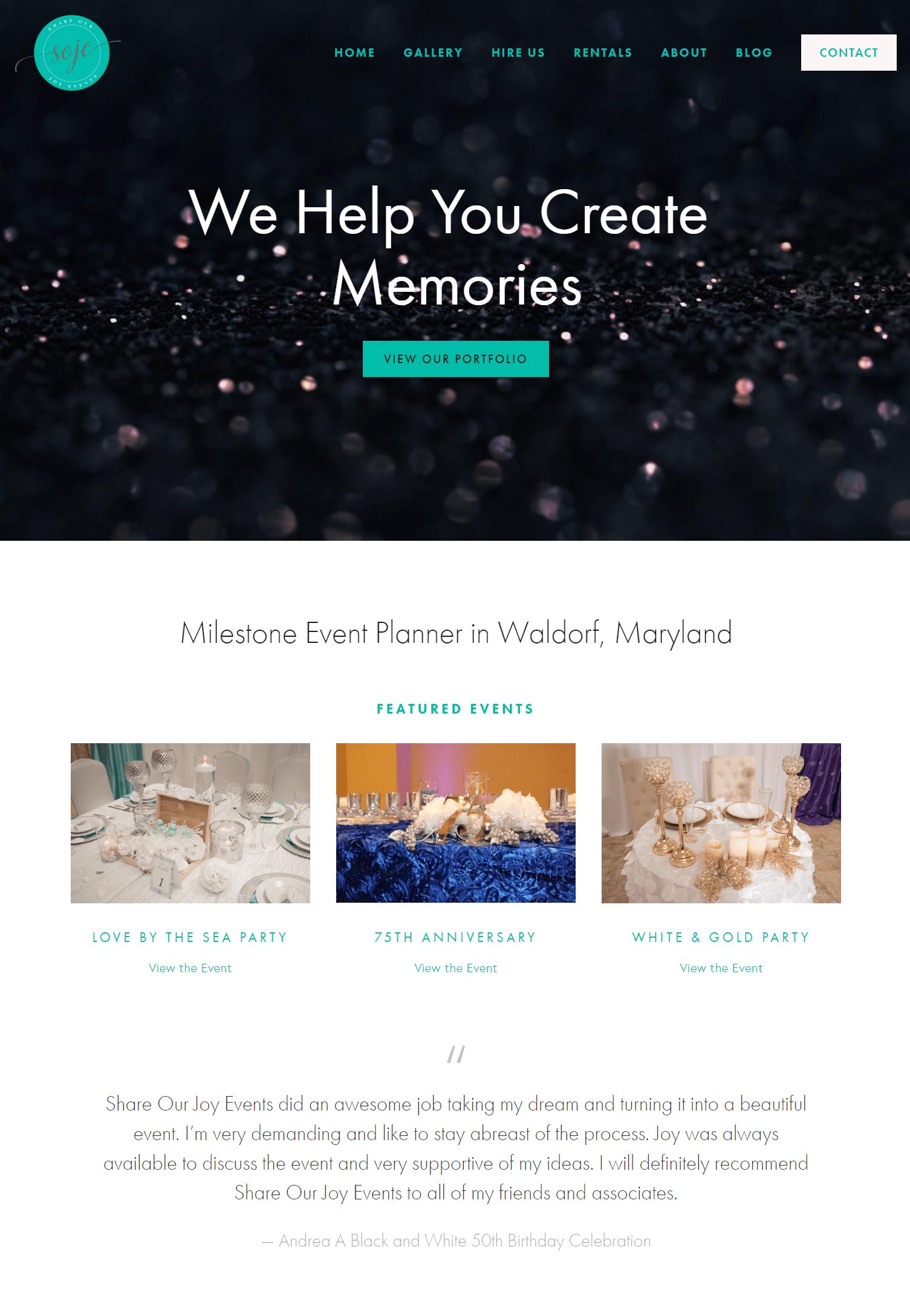 Website portfolio share our joy events