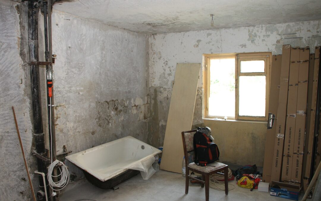 Room stripped to the masonry for a fix and flip project